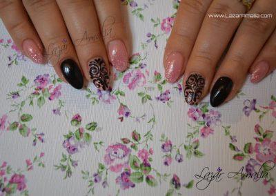 Various coloured nail designs